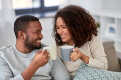 Free African American Couple Drinking Coffee At Home Stock Photos - 161480823