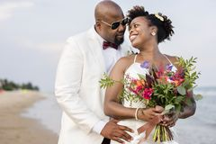 African American couple getting married at an island royalty free stock image