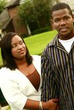 African American Couple Have A Fight After Walking. On outdoor. focus on the woman stock photo
