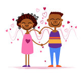 African American Couple Hold Heart Shape Love Stock Images