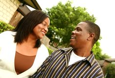 African American Couple With House Background 2 Royalty Free Stock Image