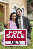 African American Couple & House For Sale Sold Sign Royalty Free Stock Photos