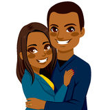African American Couple Hugging. Together dating on Saint Valentine Day stock illustration