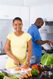 African american couple in kitchen Royalty Free Stock Image