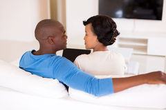 African american couple laptop Royalty Free Stock Image