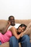 african american couple living room their στοκ εικόνες με δικαίωμα ελεύθερης χρήσης