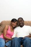 african american couple living room their Στοκ Εικόνες