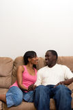 african american couple living room their young Στοκ Φωτογραφίες