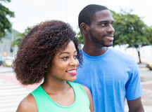African american couple looking sideways Stock Photos