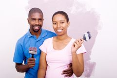 African american couple painting Stock Photography