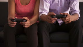 African American couple playing video games. Black people stock footage