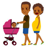 African American Couple Pushing Stroller Royalty Free Stock Photo