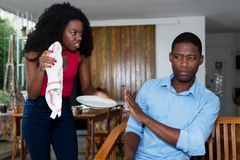 African american couple with relationship difficulties. At home Royalty Free Stock Images