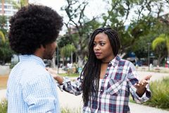 African american couple with relationship difficulties. Outdoors in the city stock images