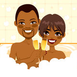 African American Couple Relaxing Bath Royalty Free Stock Photo