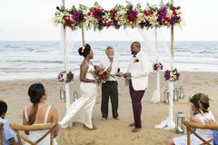 African American couple`s wedding day stock photos
