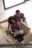African american couple shopping online Stock Image