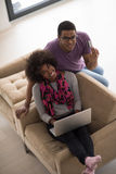 African american couple shopping online Stock Photography