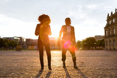 African American couple take a walk in the city Stock Image