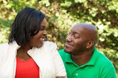 African American Couple talking and laughing. African American Couple talking and laughing outside Royalty Free Stock Photos