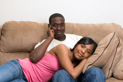 African American Couple in their Living Room Royalty Free Stock Image