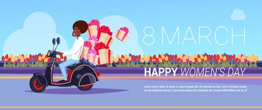 African American Courier On Scooter Delivery Of Presents For Happy International Women Day Creative Greeting Card. Background Design Flat Vector Illustration Stock Images