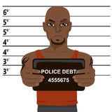 African american criminal with tattoos holding mugshot Royalty Free Stock Photos