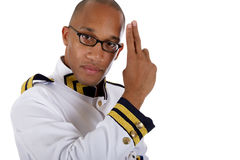 African American cruise ship steward, salute Royalty Free Stock Images