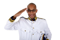 African American cruise ship steward, salute Royalty Free Stock Photos