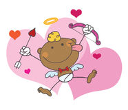 African American Cupid With Bow And Arrow. Flying With Hearts,background stock illustration