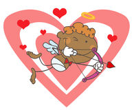 African American Cupid With Bow And Arrow. Background royalty free illustration
