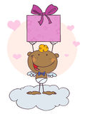 African American Cupid With Gift. Cartoon Stick African American Cupid with Gift,background royalty free illustration