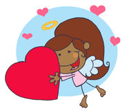 African American Cupid Girl Flying With Heart. Cartoon Stick African American Cupid Girl Flying With Heart,background royalty free illustration
