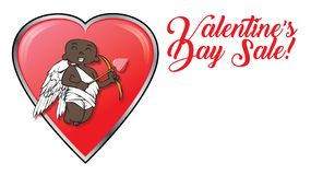 African-american cupid with Valentines Day retail sale logo and hearts royalty free stock photos