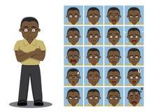 African American Dad Cartoon Emotion faces Vector Illustration. Cartoon Emoticons EPS10 File Format Stock Photo