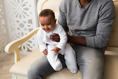 African American dad with his mixed race baby son Stock Photos