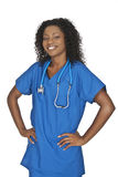 Beautiful African American woman doctor or nurse. Isolated on a white background Royalty Free Stock Images