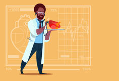 African American Doctor Cardiologist Examining Heart With Stethoscope Medical Clinics Worker Hospital. Flat Vector Illustration royalty free illustration