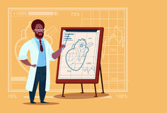 African American Doctor Cardiologist Over Flip Chart With Heart Medical Clinics Worker Hospital. Flat Vector Illustration vector illustration