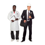 African American doctor and Caucasian architect. Two adult workers. African American doctor and Caucasian architect isolated on white background Royalty Free Stock Photo