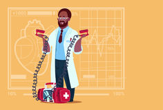 African American Doctor Hold Defibrillator Medical Clinics Worker Reanimation Hospital. Flat Vector Illustration Royalty Free Stock Image