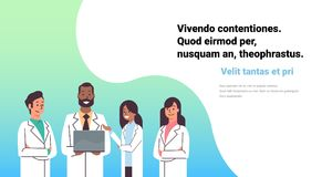 African American Doctor Hold Laptop Computer Online Consultation Mix Race Pharmacists Team Medical Clinics Worker Royalty Free Stock Images