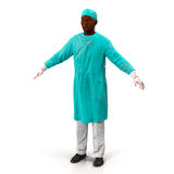 African American doctor man isolated on white 3D Illustration Stock Photos