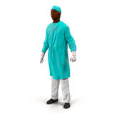 African American doctor man isolated on white 3D Illustration Royalty Free Stock Photos