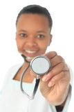African American doctor nurse black isolated Royalty Free Stock Photo