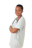 African American doctor nurse black stethoscope. African American doctor nurse black book and stethoscope isolated metisse Stock Photography