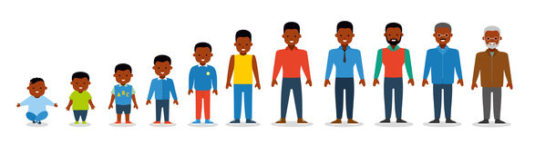 African american ethnic people. Generation of man. All age categories.  on white background. Flat. African american ethnic people generations at different ages Stock Photography