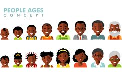 African american ethnic people generations avatars at different ages. Man and woman african american ethnic aging icons - baby, child, teenager, young, adult Stock Photos