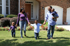 African American Family. Together outside their home Stock Images