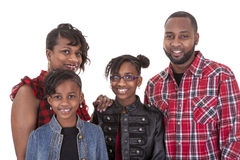 African American family. An African American family of four on white background Royalty Free Stock Images